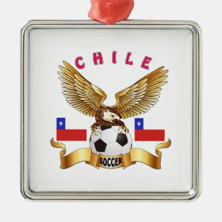 Chile Football Designs Silver-Colored Square Decoration
