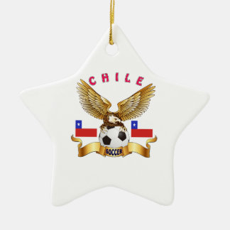 Chile Football Designs Double-Sided Star Ceramic Christmas Ornament