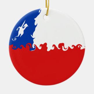 Chile Gnarly Flag Round Ceramic Decoration