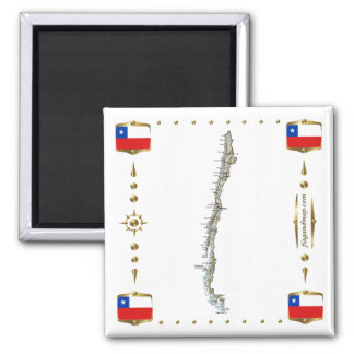 Chile Map + Flags Magnet