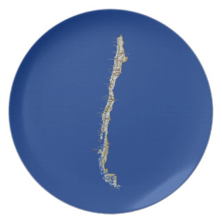 Chile Map Plate