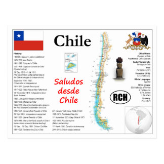 Chile map Postcard