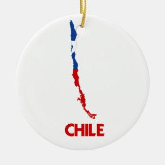 CHILE MAP ROUND CERAMIC DECORATION