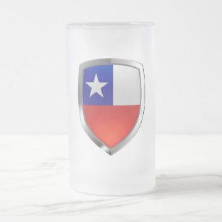 Chile Mettalic Emblem Frosted Glass Beer Mug
