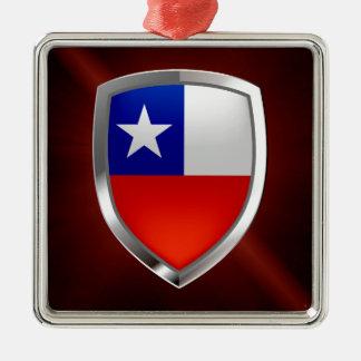 Chile Mettalic Emblem Silver-Colored Square Decoration