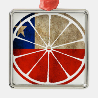CHILE ORANGE PRODUCTS SQUARE METAL CHRISTMAS ORNAMENT
