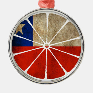 CHILE ORANGE PRODUCTS ROUND METAL CHRISTMAS ORNAMENT