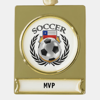 Chile Soccer 2016 Fan Gear Gold Plated Banner Ornament