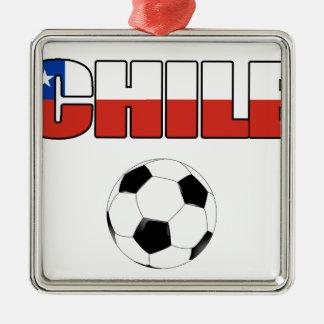 Chile Soccer 4557 Silver-Colored Square Decoration