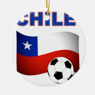 Chile Soccer 5243 Round Ceramic Decoration