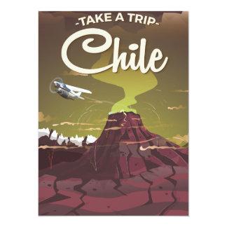 Chile Volcano vintage travel poster 14 Cm X 19 Cm Invitation Card