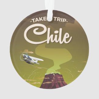 Chile Volcano vintage travel poster Ornament