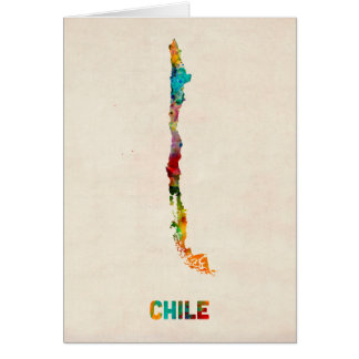 Chile Watercolor Map Card