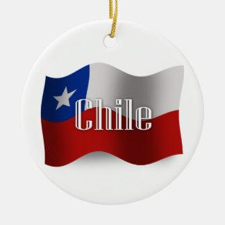 Chile Waving Flag Round Ceramic Decoration