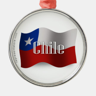 Chile Waving Flag Silver-Colored Round Decoration