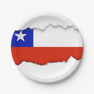 Chilean Flag 7 Inch Paper Plate