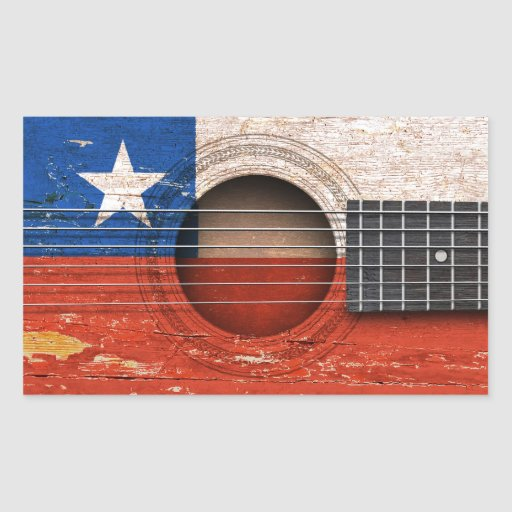 Chilean Flag on Old Acoustic Guitar Stickers