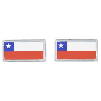 Chilean Flag Silver Finish Cuff Links