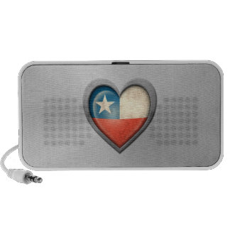 Chilean Heart Flag Stainless Steel Effect Travelling Speaker
