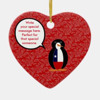 Chilean Holiday Mr. Penguin Ceramic Heart Decoration