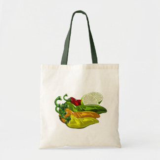 Chiles colors and limes tote bag