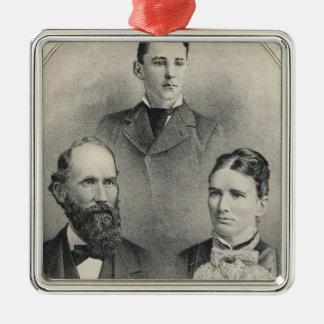 Chiles family portraits Silver-Colored square decoration