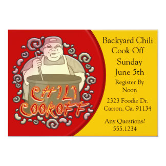 Chili Cook Off Stirring The Pot 5x7 Paper Invitation Card