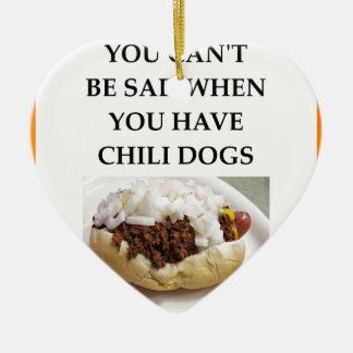 CHILI DOG CERAMIC ORNAMENT