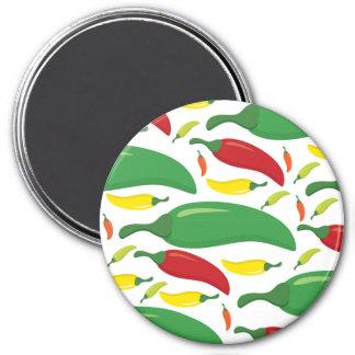 Chili pepper pattern 7.5 cm round magnet