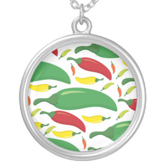 Chili pepper pattern silver plated necklace