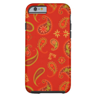 Chili Pepper Red and Lime Green Paisley Pattern Tough iPhone 6 Case