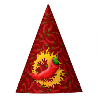 Chili pepper with flame party hat