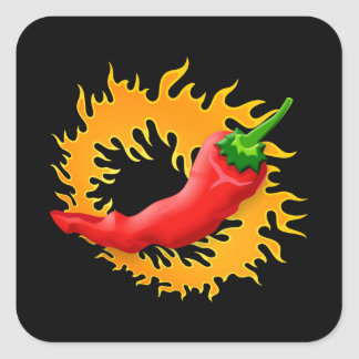 Chili pepper with flame stickers