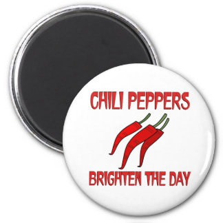 Chili Peppers Brighten the Day 6 Cm Round Magnet