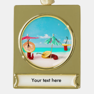 Chili Peppers By The Sea Gold Plated Banner Ornament