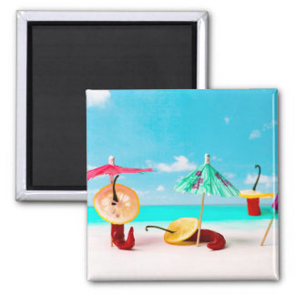 Chili Peppers By The Sea Square Magnet