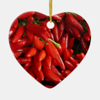 Chili Peppers Ceramic Heart Decoration