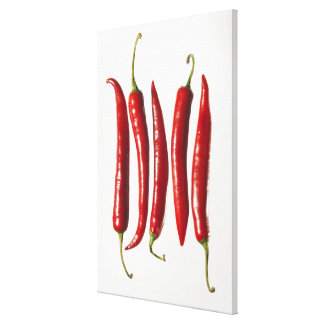 Chili Peppers in a Row Gallery Wrapped Canvas