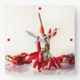 Chili Peppers Square Wall Clock