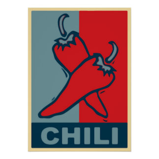 Chili Red and Blue Poster