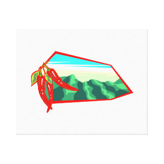 Chilis with moutain range behind stretched canvas print