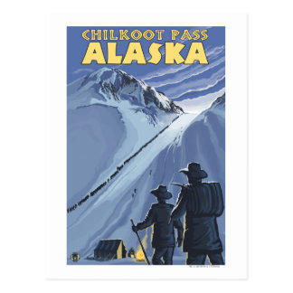 Chilkoot Pass, Alaska Gold Miners Postcard