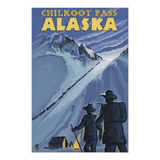 Chilkoot Pass, Alaska Gold Miners Poster