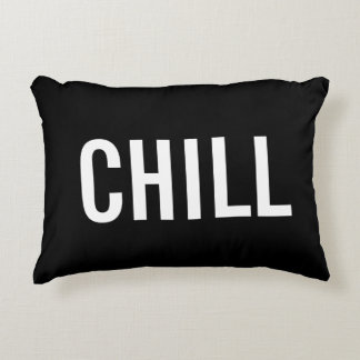 """Chill"" Black Throw Pillow"