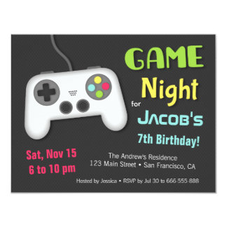 Chill Boys Video Game Night Birthday Party 11 Cm X 14 Cm Invitation Card
