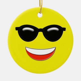 Chill Emoji Custom Ceramic Ornament