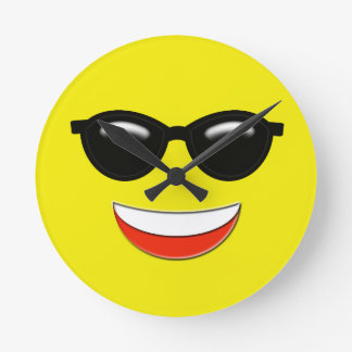 Chill Emoji Round Clock