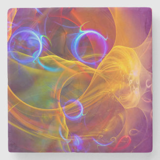 Chill Out , Colorful Digital Abstract Art Stone Coaster
