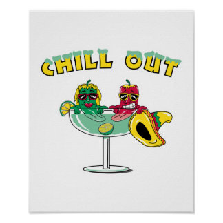Chill Out Margarita Chili Peppers Poster
