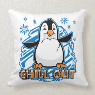 Chill Out Penguin Throw Pillow